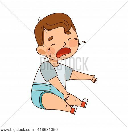 Cute Infant Boy In Diaper Sitting On The Floor And Crying Vector Illustration