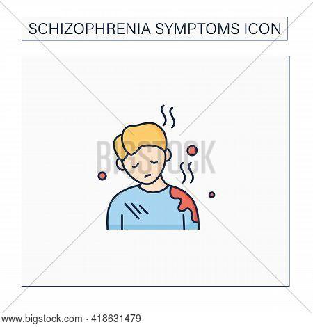Poor Care Color Icon. Personal Hygiene Deterioration. General Apathy.schizophrenia Symptoms Concept.