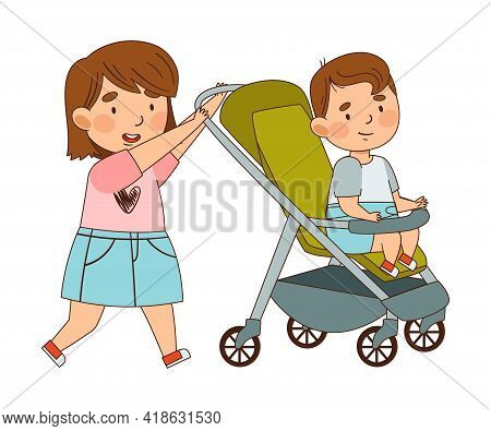 Girl Sister Pushing Baby Buggy With Her Little Brother Walking As Family Relations Vector Illustrati
