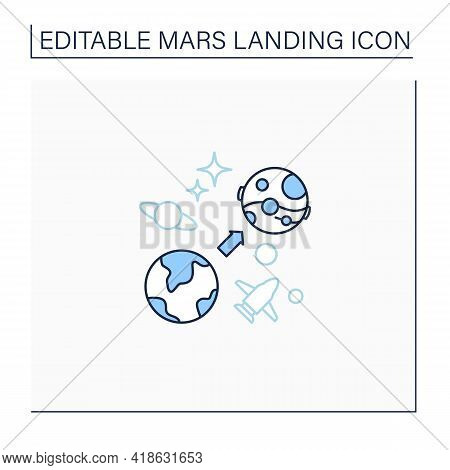 Mars Mission Line Icon. Flight From Earth To Mars. Research And Development Fourth Planet. Uninhabit