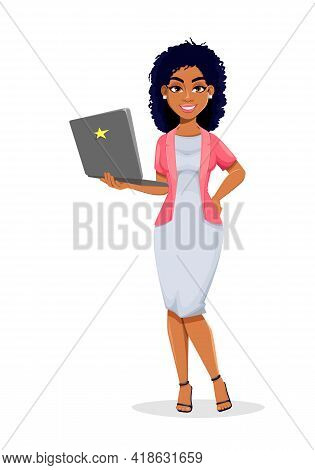 African American Business Woman Holding Laptop. Beautiful Businesswoman Cartoon Character, Pretty La