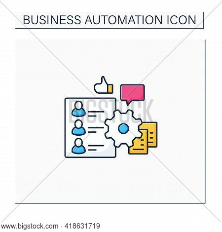 Hr Onboarding Color Icon. Automation Process Hr Onboarding. Attracting New Technical Employees. Busi
