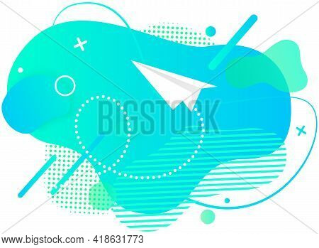 Abstract Background With Paper Airplane In Blue Sky With Geometric Lines. Pattern Design With Aircra