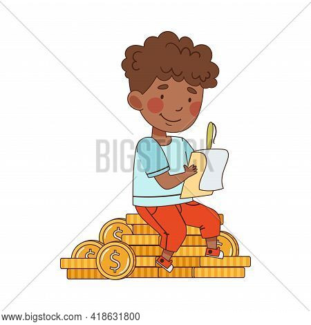 Little Boy Sitting On Pile Of Dollar Coins And Bookkeeping Vector Illustration