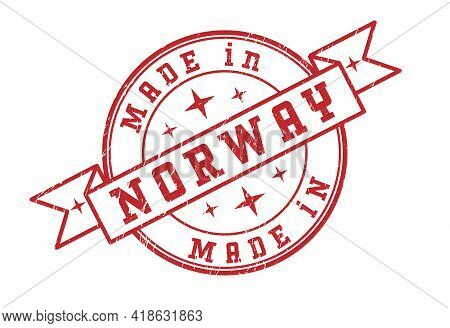 An Impression Of A Seal With The Inscription Made In Norway, Isolated On A White Background