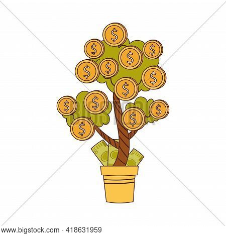 Dollar Green Tree Growing In Flowerpot With Coins And Dollar Banknotes As Asset And Money Abundance