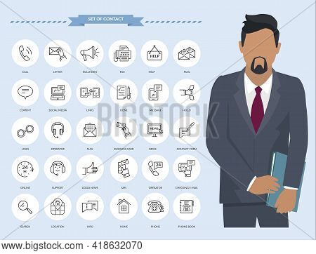 Communication Thin Line Icons. Businessman With Set Of Contact And Payment Icons, Connection Methods