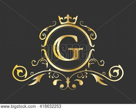 Golden Stylized Letter G Of The Latin Alphabet. Monogram Template With Ornament And Crown For Design