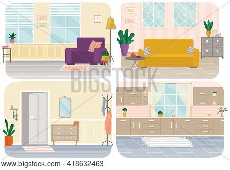 Interior Design Vector Set. Arrangement Of Furniture, Objects And Layout Of Living Room. Sofa Option