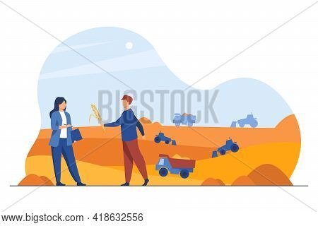 Farmer Giving Ear Of Grain To Businesswoman. Construction Machinery Altering Landscape Flat Vector I