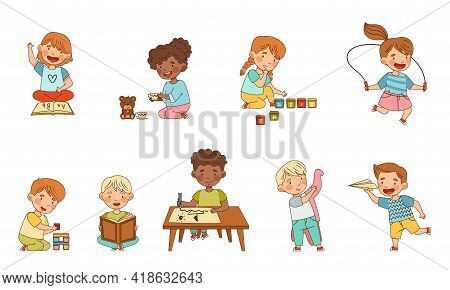 Little Kids In Kindergarden Learning Alphabet, Playing Toy Blocks, Drawing And Doing Sums Vector Set