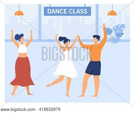 Happy Couple In Dance Class. Cartoon Characters Dancing, Learning Moves, Teacher Instructing Flat Ve