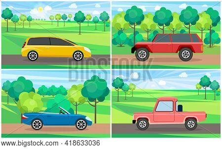 Set Of Illustrations About Modes Of Transport And Machine Shapes. Cars Of Different Types Without Dr