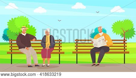 Elderly Couple Spend Time In City Park Sitting On Bench. Man Sitting And Reading Newspaper In Garden