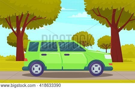 Car Drive On An Asphalt Road In Countryside Against Green Forest With Large Trees. Country Road Summ