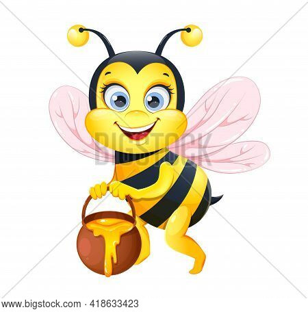 Cute Cartoon Bee. Funny Honeybee Cartoon Character. Stock Vector Illustration On White Background