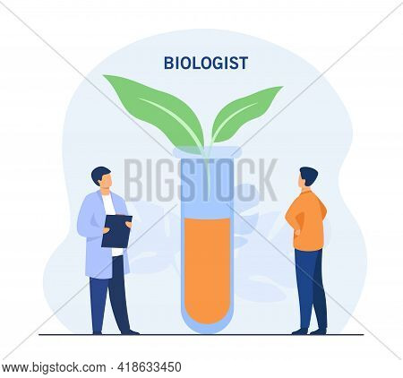 Tiny Biologist With Plant In Huge Glass Testing Tube. Cartoon Characters Looking At Leaves, Experime