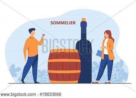 Sommelier Tasting Red Wine. Cartoon Expert With Wineglass In Hand, Female Staff, Bottle, Barrel Flat