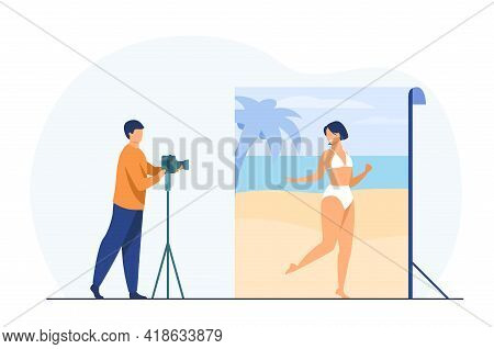 Photo Shoot In Beach Background. Photographer Taking Pictures Of Woman In Bathing Suit Flat Vector I
