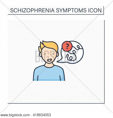 Negative Symptoms Color Icon.speech Difficulties, Abnormalities. Disconnected Replies To Questions.s