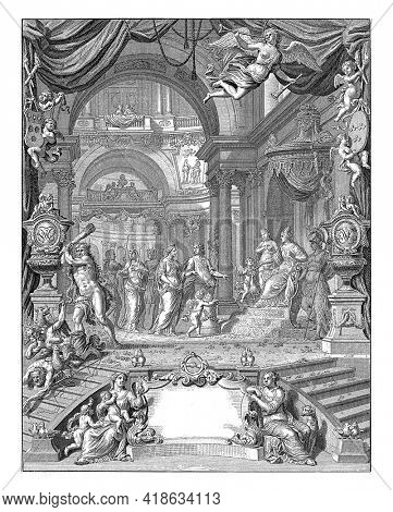 The wedding couple faces a landing with Venus, Amor, Juno and Minerva. Hercules chases away the angry guests.