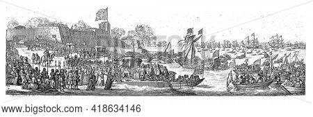 Queen Catherine of Braganza arrived at Portsmouth Harbor on May 25, 1662, accompanied by the Duke of York. Small and large ships on the water.