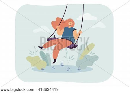 Happy Girl And Sitting On Swing, Smiling And Swinging Flat Vector Illustration. Cartoon Female Chara