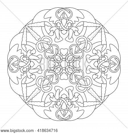 Mandala Coloring Page. Abstract Background With Hearts. Art Therapy. Anti-stress. Vector Illustratio