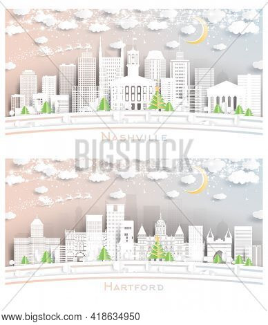 Hartford Connecticut and Nashville Tennessee USA City Skyline Set in Paper Cut Style with Snowflakes, Moon and Neon Garland. Christmas and New Year Concept. Santa Claus on Sleigh.