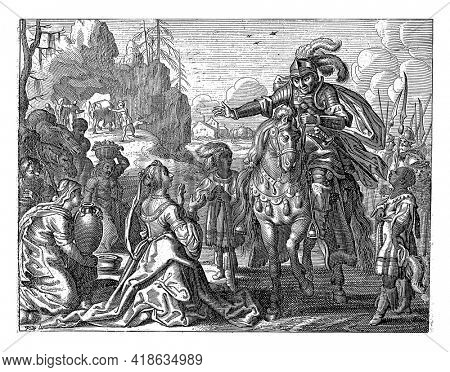 Abigail kneels before David, whom she is to marry. Her maidservants bring fruit and bread for David and his supporters into the desert.