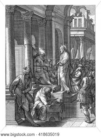 Christ is on trial before Pilate. The people demand the crucifixion of Christ and Pilate admitting the pressure of the crowd then wash his hands in innocence.