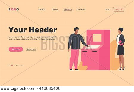 People Using Atm. Bank Customers Waiting In Queue, Social Distance Flat Vector Illustration. Banking