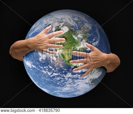 Human Arms Embracing and Nurturing the Planet Earth.