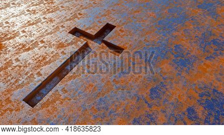 Concept or conceptual metal cross on a  rusted corroded metal or steel sheet background. 3d illustration metaphor for God, Christ, religious, faith, holy, spiritual, Jesus, belief or resurection
