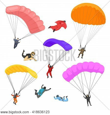 People Skydiving With Parachutes Vector Illustrations Set. Cartoon Parachutists Falling With Equipme