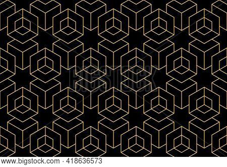 The Geometric Pattern With Lines. Seamless Vector Background. Gold And Black Texture. Graphic Modern