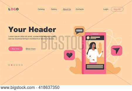 Social Media Post With Picture. Blogger, Video, Like, Sharing, Repost Flat Vector Illustration. Comm