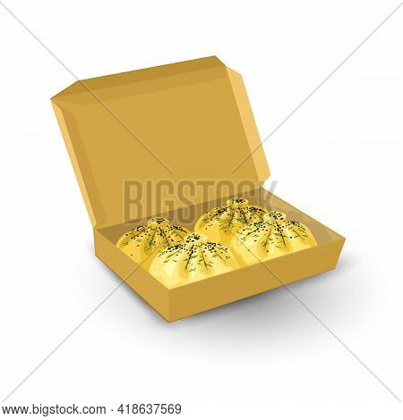 Cartoon Cardboard Box With Tasty Meal, Hot Khinkali Served With Greenery And Herbs. Vector Restauran