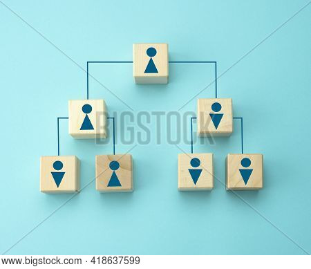 Wooden Blocks With Figures On A Blue Background, Hierarchical Organizational Structure Of Management
