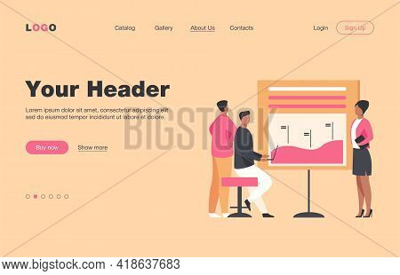 Manager Presenting Report To Colleagues, Partners, Investors. Diagram, Bar Chart, Graph Flat Vector