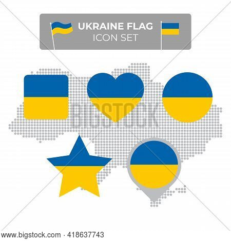 Ukraine Flag Icons Set In The Shape Of Square, Heart, Circle, Stars And Pointer, Map Marker. Mosaic