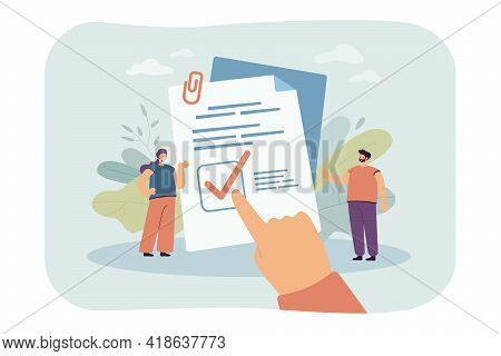 Tiny People Reading Law Principles Isolated Flat Vector Illustration. Cartoon Hand Pointing Checkmar