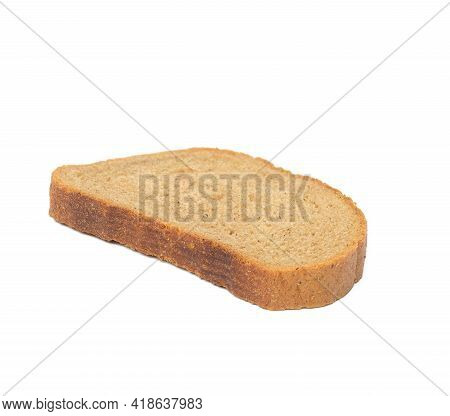 Oval Slice Of Rye Bread Bread Isolated On White Background, Close Up
