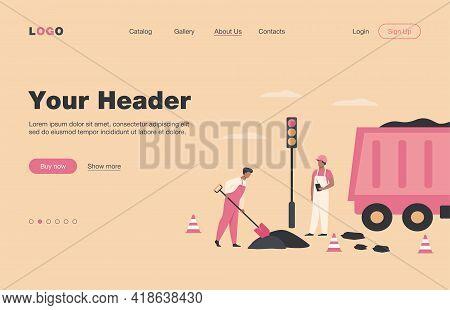 Road Workers Spreading Asphalt On Street, Repairing Highway, Working Near Heavy Car. Vector Illustra