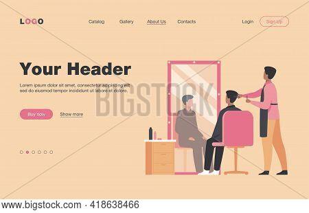 Male Hairdressing Beauty Salon Interior Isolated Flat Vector Illustration. Cartoon Stylist Or Beauti