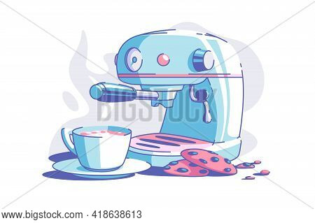 Electrical Coffee Machine Vector Illustration. Cup Of