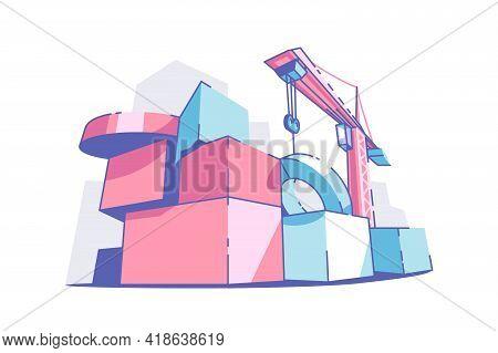 Colourful Big Building Blocks Vector Illustration. Crane