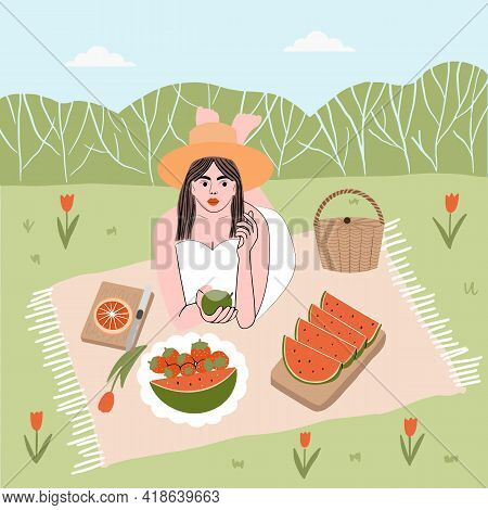 Summer Time. Brunette Girl In White Dress And Hat Lies On A Blanket Outside The City On A Picnic And