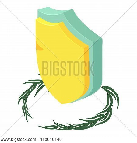 Military Shield Icon. Isometric Illustration Of Military Shield Vector Icon For Web