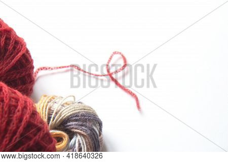 Skeins Of Multicolored Threads For Knitting Isolated On White Background. Craft On White Background.